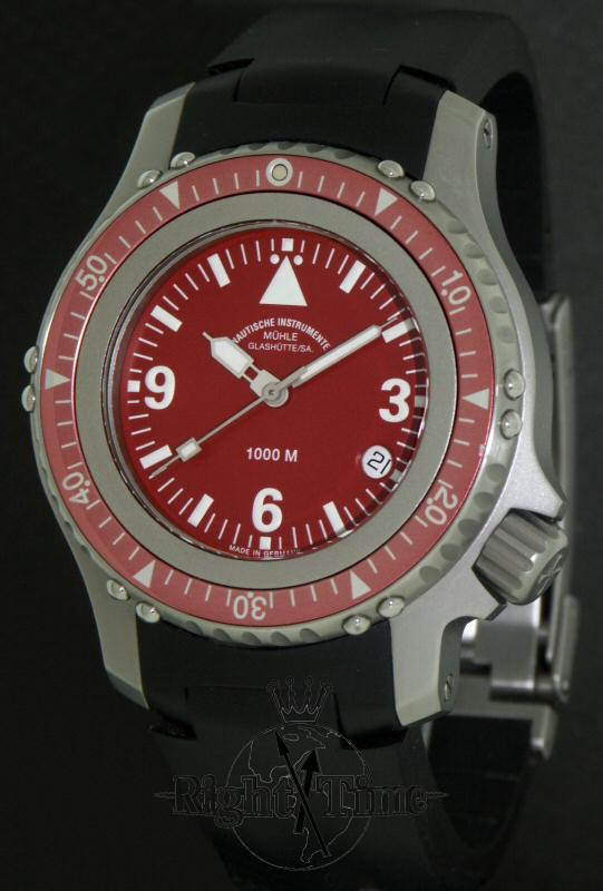 Muhle glashutte red dial rasmus diving m1 28 18kb pre owned mens watches for Muhle watches