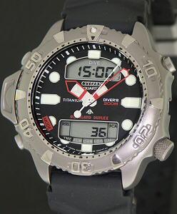 Titanium aqualand duplex jp1040 09e citizen aqualand wrist watch - Citizen titanium dive watch ...