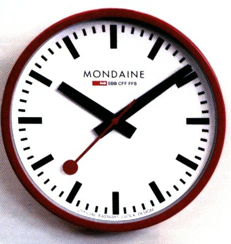 Red railway wall clock mondaine railways wall clock - Mondaine wall clocks ...