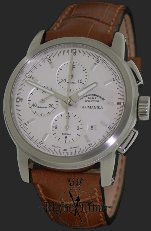 Chronograph on platinum dial m1 38 05lb muhle glashutte germanika wrist watch for Muhle watches