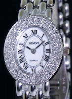 Pre-Owned GENEVE 14KT SOLID GOLD CASE/DIAMONDS