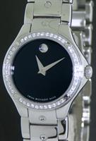 Pre-Owned MOVADO S.E. BLACK DIAL DIAMOND BEZEL