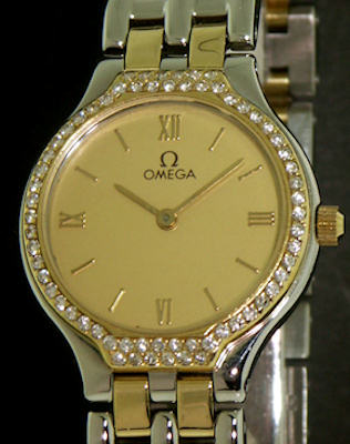 Pre-Owned OMEGA DEVILLE SYMBOL 18KT AND STEEL