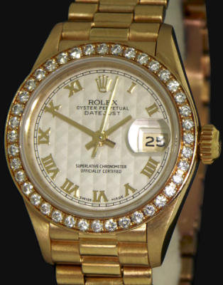 Pre-Owned ROLEX 18KT GOLD DATEJUST W/DIAMONDS