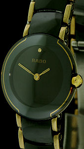 Pre-Owned RADO LADIES COUPOLE BLACK AND GOLD
