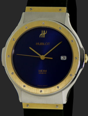 Pre-Owned HUBLOT CLASSIC 18KT GOLD/STEEL BLUE