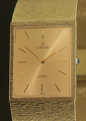 Pre-Owned CONCORD 14KT GOLD ULTRA-THIN QUARTZ