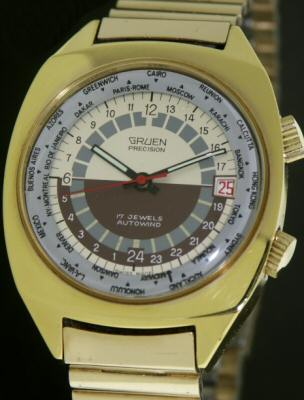 Pre-Owned GRUEN 24 HOUR DIAL WORLD TIMER