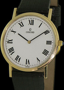 concord 14kt gold ultra slim 2220221 pre owned mens watches