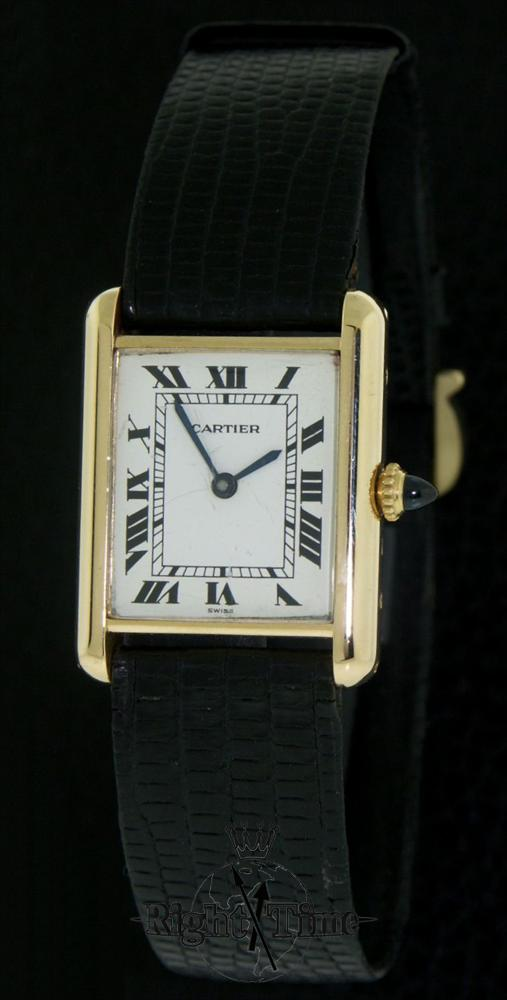 cartier 18kt gold tank style tank pre owned mens watches