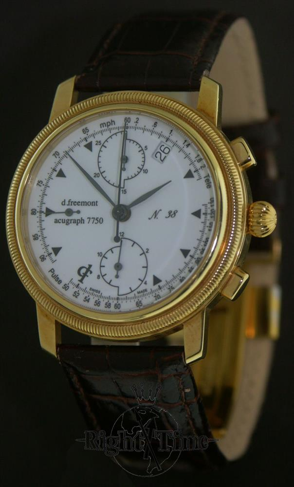 d freemont 18kt gold chronograph 38 pre owned mens