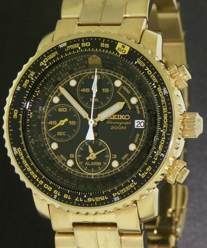 Seiko Pilot Alarm Chronograph Sna414 Pre Owned Mens Watches