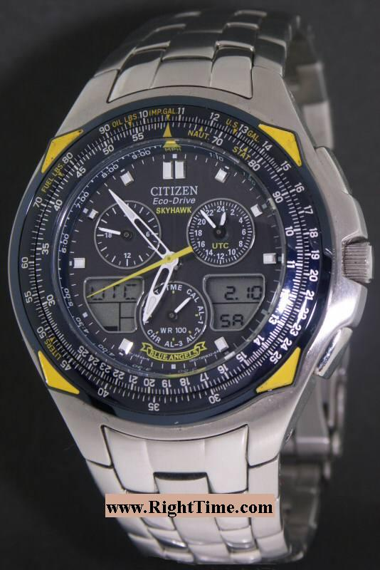 watch chronograph dial s watches bracelet steel dive citizen a alarm skyhawk t digi ana blue men