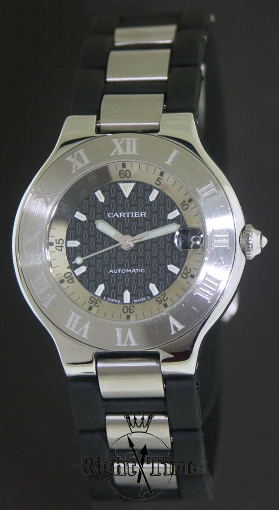 cartier autoscaph 21 automatic 2427 pre owned mens watches