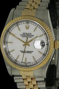 Pre-Owned ROLEX DATEJUST 18KT/STEEL WHITE DIAL