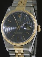 Pre-Owned ROLEX DATEJUST 18KT/STEEL BLACK DIAL