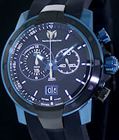 Pre-Owned TECHNOMARINE BLUE PVD CASE & BLK DIAL