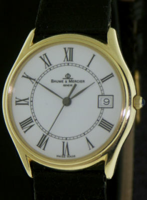 Pre-Owned BAUME & MERCIER 14KT GOLD WHITE DIAL CLASSIMA