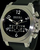 Pre-Owned BRERA OROLOGY MILITARE 50 STEEL BLACK