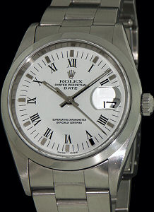 Pre-Owned ROLEX WHITE OYSTER PERPETUAL DATE