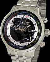 Pre-Owned TX TECHNOLUXURY WORLD TIME STEEL BLACK DIAL