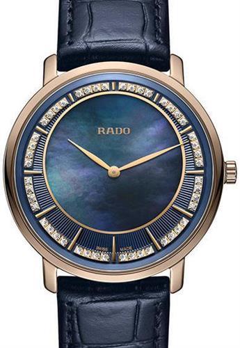 Thinline Blue Mop Diamond R14071916 Rado Rado True Wrist Watch