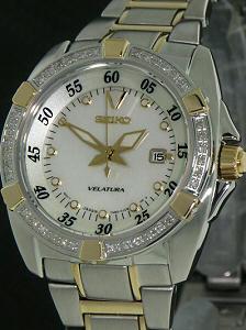 8f376f92b06e Two Tone Diamond Bezel sxda20 - Seiko Velatura wrist watch