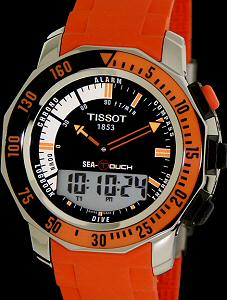 sea touch black orange dial t026 420 17 281 03 tissot t touch rh righttime com Tissot Touch Expert Manual Tissot Diver